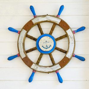 SG2091 wooden ship steering wheel