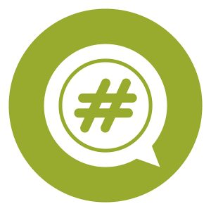 SG2183 green circle hashtag speech bubble infographics