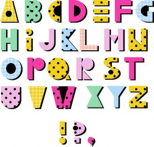 SG2186 hand drawn alphabet geometric funny checkered font dots colourful letters retro