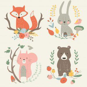 SG2227 fox hare bear squirrel floral frames