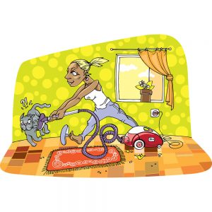 SG2465 cartoon housewife cleaning cat