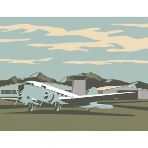 SG2550 retro illustration airliner airport plane