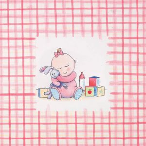 SG640 watercolour illustration baby babies girl pink