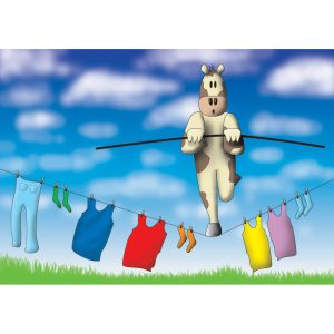 SG672 cow cartoon washing clothes