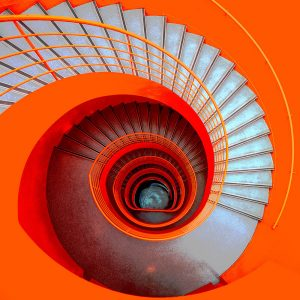 TM1267 architecture spiral staircase orange