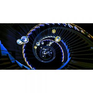TM1272 architecture spiral staircase lights blue