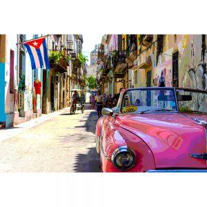 TM1369 automotive cuban cars street pink