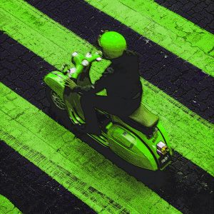 TM1477 automotive scooters green stripes