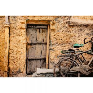 TM1573 bicycles wooden door orange