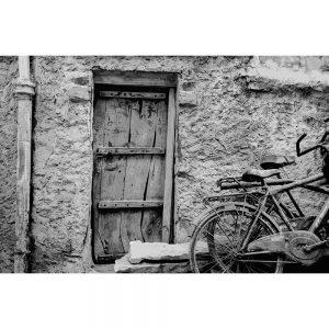 TM1574 bicycles wooden door mono