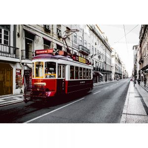 TM2320 tram in street maroon