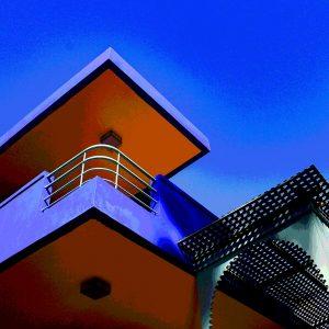 TM2813 retro apartment balcony blue sky