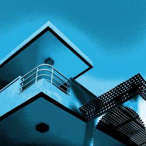 TM2815 retro apartment balcony bright blue sky