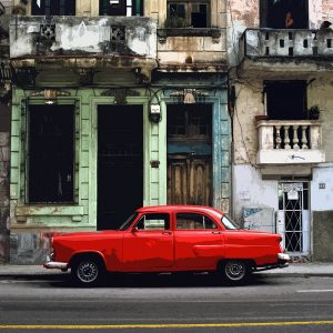 TM2871 cuban classic american car red