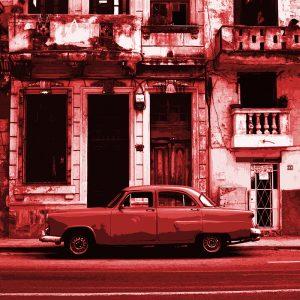 TM2873 cuban classic american car bright red