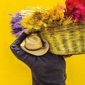 TM2968 man carrying yellow basket detail