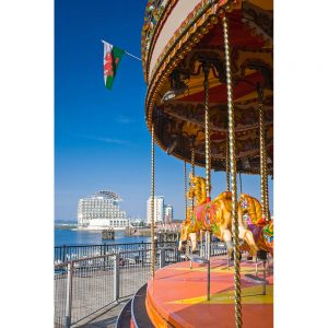 SG2944 carousel merry go round cardiff bay wales